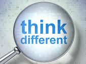 Education concept: Think Different with optical glass