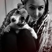 Beautiful Girl With Dreadlocks And Dog Puppy Jack Russell Terrier