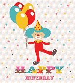 Happy birthday card with clown