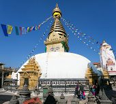 Nepal, Kathmandu - Dec 16 Tourists And Nepalese Walking Around Swayambhunath Stupa During Festival -