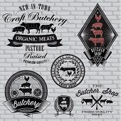 stock photo of meat icon  - set of labels for Butcher on a brick wall - JPG