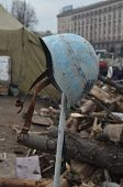 KIEV, UKRAINE - APR 7, 2014: Downtown of Kiev.Camp decoration with military items.Rioters camp..Riot