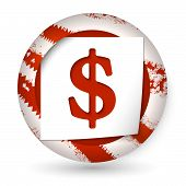 Red Abstract Icon With Paper And Dollar Sign