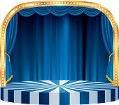 vector rounded stage with blue curtain