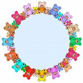Ring of colorful teddies