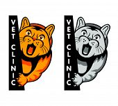 Veterinary clinic symbol with yelling cat isolated