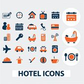 hotel, motel icons, signs, elements set, vector