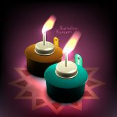Vector 3D Muslim Oil Lamp - Pelita. Translation: Ramadan Kareem - May Generosity Bless You During Th