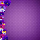 Violet Banner With Color Flowers With Gradient Mesh, Vector Illustration