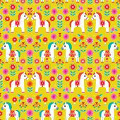 Seamless colorful Matryoshka folklore pony illustration retro horse pattern background in vector