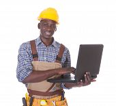 Repairman Using Laptop