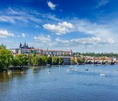 Panorama view of Vltava river and Gradchany (Prague Castle) and St. Vitus Cathedral and Charles brid