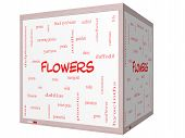 Flowers Word Cloud Concept On A 3D Cube Whiteboard