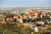 KRAKOW, POLAND - OCT 20, 2013: Aerial view of Royal Wawel castle with park. The monument to the history of the Decree of the President Lech Walesa on Sep 8, 1994.