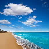 Denia Alicante beach with blue summer sky in Spain Valencian Community