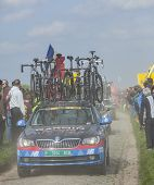 Row Of Technical Vehicles- Paris- Roubaix 2014