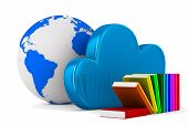Cloud and book on white background. Isolated 3D image