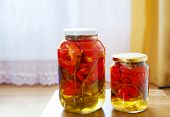 Two Glass Jars With Marinated Tomatoes Homemade