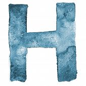 Watercolor vector capital letter H