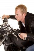 Man In Black Jacket Motorcycle Side Lean