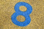 Number Eight Sign On Sand Fome