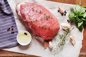 image of veal meat  - raw veal meat with spice - JPG