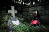 Pretty Vampire Near Grave