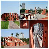 Collage Of Famous Delhi Landmark - Ancient Astronomical Observatory Jantar Mantar,unesco Heritage Si