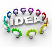 Idea Word Surrounded By Light Bulbs