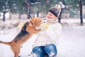Walking With Pet - Winter Active Leisure Time