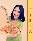 Beautiful girl with delicious pizza in pizza box
