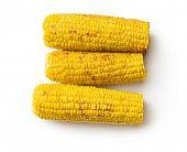 roasted corn on white background