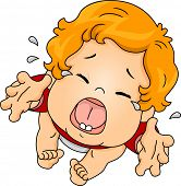 Illustration Featuring a Baby Crying Out Loud While Asking to be Picked Up