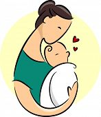 Illustration Featuring a New Mother Cradling Her Baby