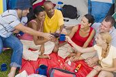 Multi-ethnic friends toasting at campsite