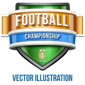 Label for football sport competition. Bright premium design. Vector Illustration.