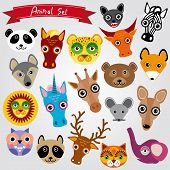 Set Of Funny Animals Muzzle. Vector