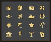 Vacation and travel icon set. Vector illustration