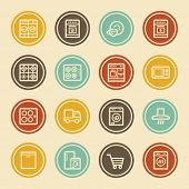 Kitchen Appliances Web Icons, Color Circle Buttons