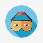 Eye Mask, Flat Icon With Long Shadow