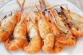 Fresh Water Shrimp Grilled On Fire Ready To Eat On White Dish