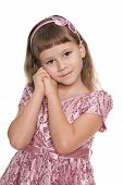 pic of shy girl  - A portrait of a shy girl against the white background - JPG