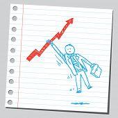 Businessman hanging on arrow