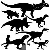 dinosaur and kid silhouette vector