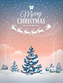 Christmas greeting card with the village landscape and snowfall. Detailed vector picture.