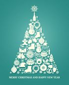 picture of compose  - Christmas vector greeting card with a tree composed of a variety of seasonal icons in white silhouette arranged in the shape of a conical tree on blue with text below for Xmas and New Year - JPG