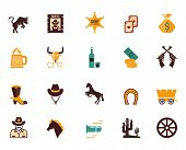 stock photo of bronco  - Large set of colored Western flat vector icons with horses  bulls  sheriff  guns  money  cowboy  wagon  wheel  bullet  beer  stetson and horseshoe - JPG