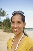 picture of pacific islander ethnicity  - Pacific Islander woman at beach - JPG