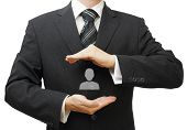 Human Resources Managment Concept With Businessman Protecting Employee