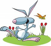 stock photo of bunny rabbit  - Cartoon Easter Bunny with bees - JPG